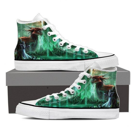 World of Warcraft Elf Dragon Fantasy Gaming Art Sneaker Converse Shoes