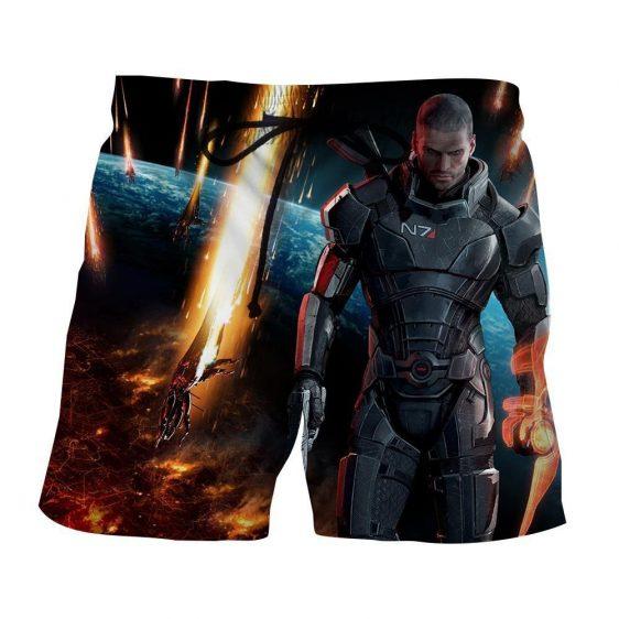 Mass Effect Captain Shepard Earth Attack Full Print Shorts