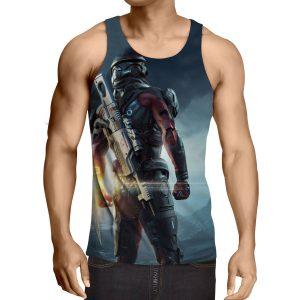 Mass Effect Captain Assault Rifle Laser Blade Tank Top - Superheroes Gears