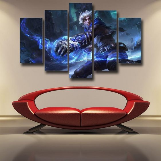 League of Legends Frosted Ezreal Cool Design 5pc Canvas Wall Art