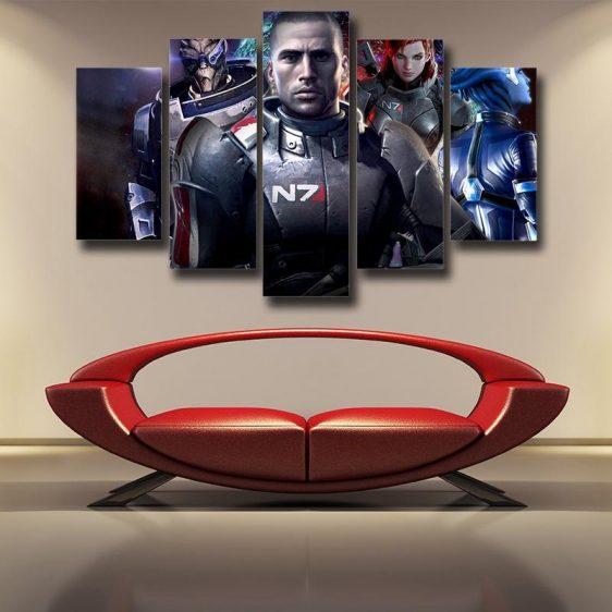 Mass Effect Captain Shepard Portrait War Hero Game 5pc Poster Prints