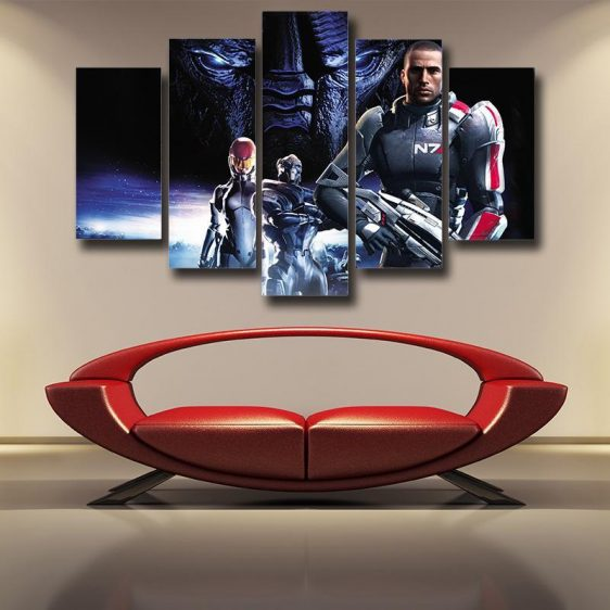Mass Effect Captain Shepard Portrait War Hero Game 5pc Wall Art Prints