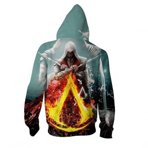 Assassin's Creed Bayek Flaming Symbol Crest Vibrant Hoodie