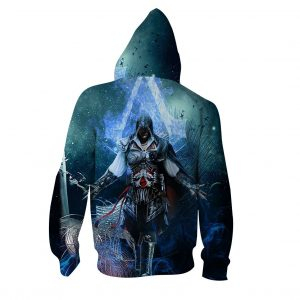 Assassin's Creed Ezio Epic Vibrant Blue Flame Design Hoodie
