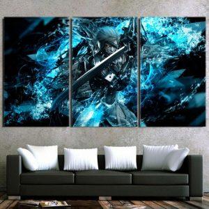 Metal Gear Raiden With Sword Vibrant Blue 3pcs Canvas Prints