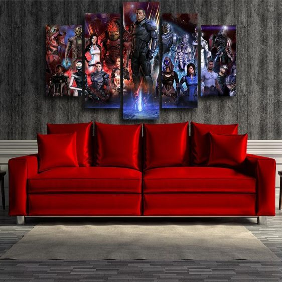 Mass Effect Galactic War Full Characters Dope 5pc Wall Art Canvas Prints