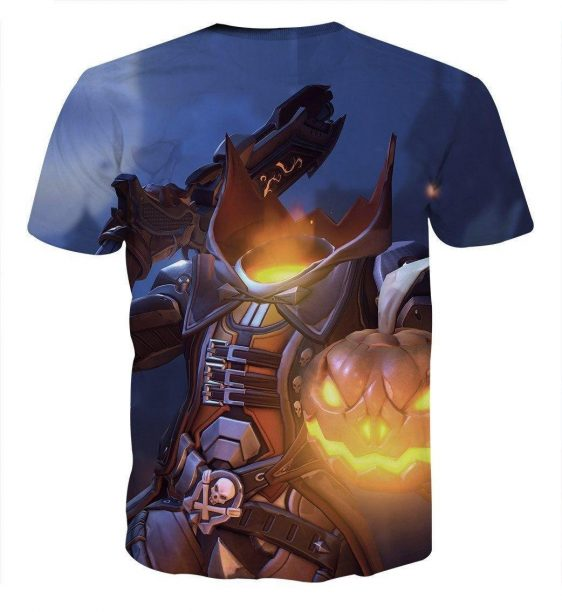 Overwatch Reaper Pumpkin Head Halloween Dope Design T-Shirt