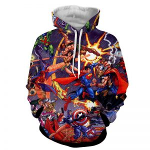 Justice League Fighting The Avengers Scene Full Print Awesome Hoodie - Superheroes Gears