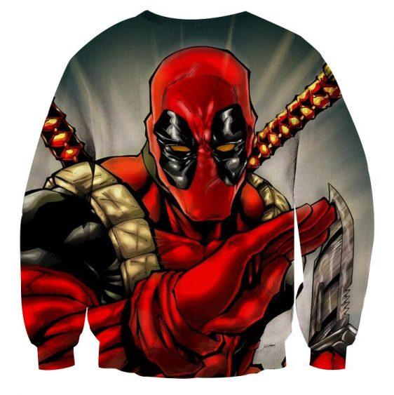 Deadpool Wielding A Knife Fighting Amazing Design Sweatshirt - Superheroes Gears