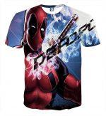Sexy Deadpool Winking Awesome Portrait Smoke Design T-shirt - Superheroes Gears