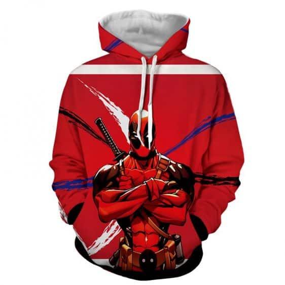 Deadpool Folding His Arms Dope Style Full Print Red Hoodie - Superheroes Gears