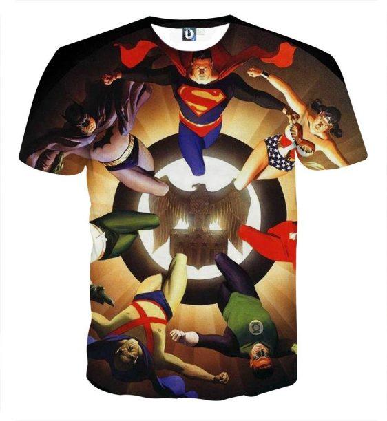 Justice League Superheroes Justice Symbol 3D Print T-Shirt - Superheroes Gears