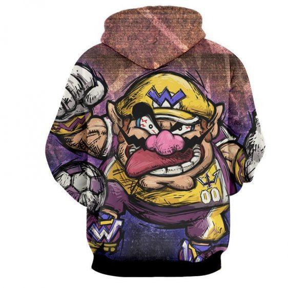 Super Mario Wario Madness Villain Cartoon Sketch Hoodie