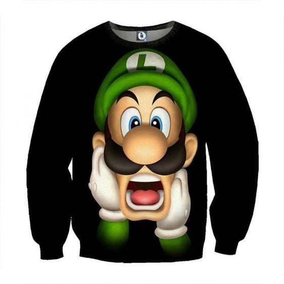 Super Mario Bros Luigi Frighten Funny Gaming Design Sweatshirt