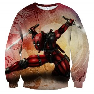 Serious Deadpool Dual Blades Fighting Fashionable Print Sweatshirt - Superheroes Gears