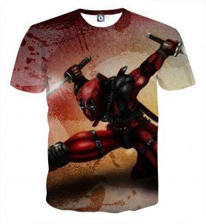Serious Deadpool Dual Blades Fighting Fashionable Print T-shirt - Superheroes Gears