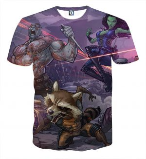 Guardians of the Galaxy Team Fighting Anime Theme 3D T-shirt - Superheroes Gears
