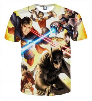 Justice League Super Power Heroes Cool Art Printing T-Shirt - Superheroes Gears