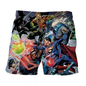 Justice League Fighting Scene Cool Design Full Print Shorts - Superheroes Gears