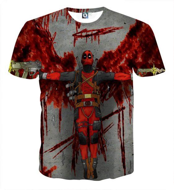 Deadpool Guns Holding Bloody Wings Dope Design Print T-shirt - Superheroes Gears