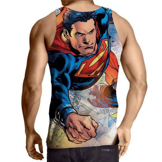 Justice League Powerful Superman Comic Art Print Tank Top - Superheroes Gears