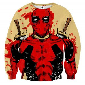 Deadpool Watercolour Painting Portrait Vibrant Swag Sweatshirt - Superheroes Gears