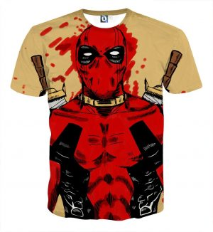 Deadpool Watercolour Painting Portrait Vibrant Swag T-shirt - Superheroes Gears