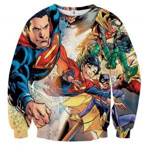 Justice League Powerful Superman Comic Art Print Sweatshirt - Superheroes Gears