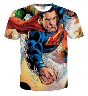 Justice League Powerful Superman Comic Art Print T-Shirt - Superheroes Gears