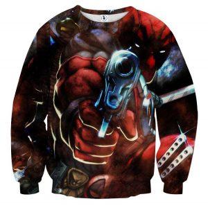 Dangerous Deadpool Firing A Gun Amazing Style Fan Art Sweatshirt - Superheroes Gears