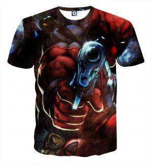 Dangerous Deadpool Firing A Gun Amazing Style Fan Art T-shirt - Superheroes Gears