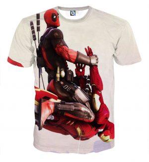 Funny Deadpool Riding Iron Man Meme Style 3D Print T-shirt - Superheroes Gears