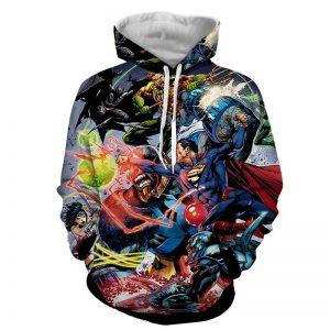 Justice League Fighting Scene Cool Design Full Print Hoodie - Superheroes Gears