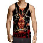 Deadpool Thumbs Up Style Black Background 3D Print Tank Top - Superheroes Gears