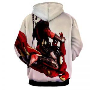 Funny Deadpool Riding Iron Man Meme Style 3D Print Hoodie - Superheroes Gears