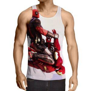 Funny Deadpool Riding Iron Man Meme Style 3D Print Tank Top - Superheroes Gears