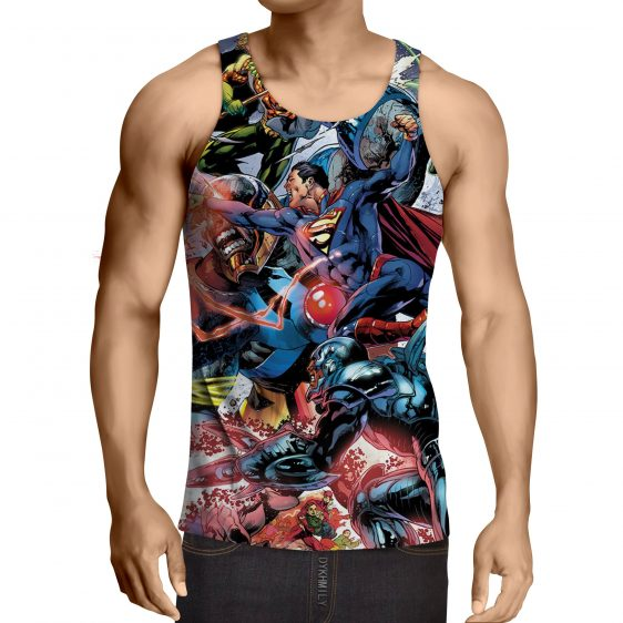 Justice League Fighting Scene Cool Design Full Print Tank Top - Superheroes Gears