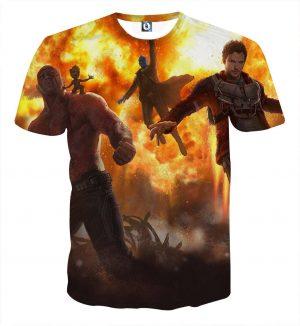 Guardians of the Galaxy Team Battle Vibrant Design T-shirt - Superheroes Gears