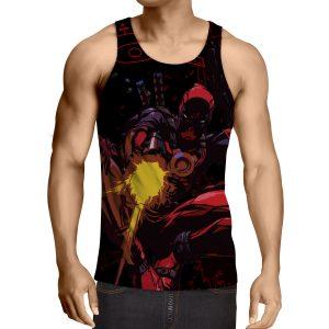 Antihero Deadpool Shooting With Gun Cool Style Print Tank Top - Superheroes Gears