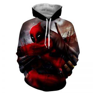 Bloody Deadpool Fighting Battle Painting Design Print Hoodie - Superheroes Gears