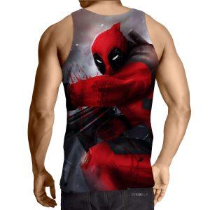 Bloody Deadpool Fighting Battle Painting Design Print Tank Top - Superheroes Gears