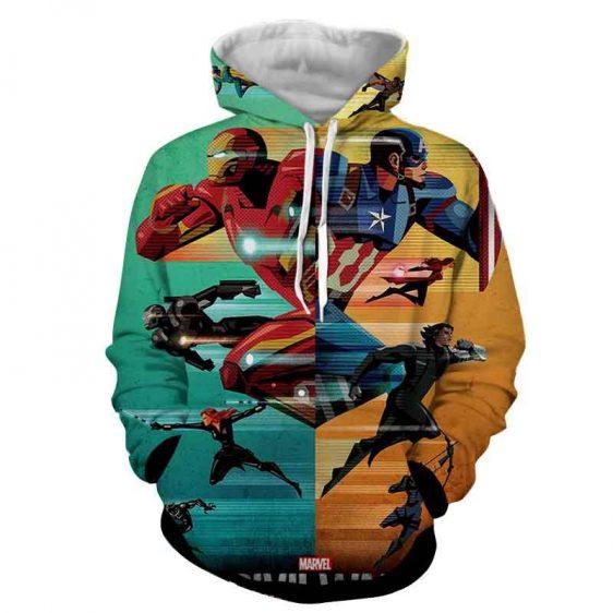 Marvel The Avengers Civil War Symmetric Pattern Style Hoodie