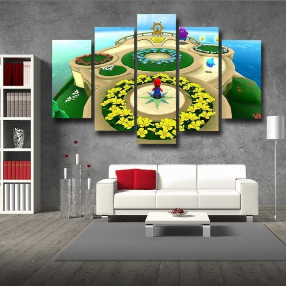 Super Mario Skyship 5pc Wall Art Decor Posters Canvas Prints