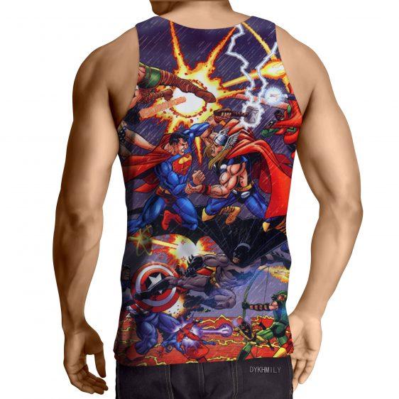 Justice League Fighting The Avengers Scene Full Print Tank Top - Superheroes Gears