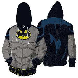 Batman DC Comics Grey Costume Cosplay 3D Zip Up Hoodie - Superheroes Gears