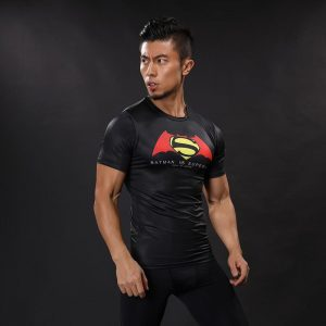 Batman vs Superman Symbol Combination Compression Short Sleeves T-shirt - Superheroes Gears