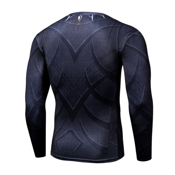 Black Panther Long Sleeves 3D Full Print Workout T-shirt - Superheroes Gears