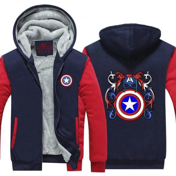 Captain America Crossing Harley Quinn Symbol Hooded Jacket - Superheroes Gears