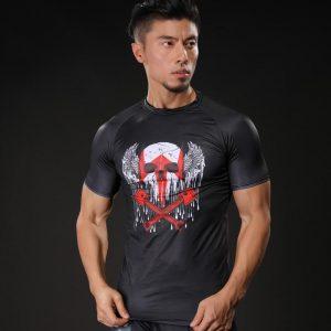 Civil War Villain Crossbones Symbol Compression Short Sleeves Gym T-shirt - Superheroes Gears