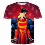 DC Hero Superman Cape Symbol USA Flag Cartoon Theme T-Shirt - Superheroes Gears